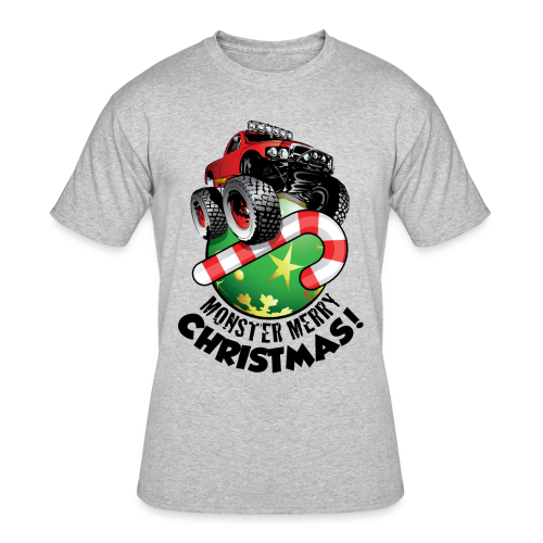 Men's 50/50 T-Shirt - Have a monster great christmas with this awesome monster truck design from Off-Road Styles. Complete with candy-cane and ornament.