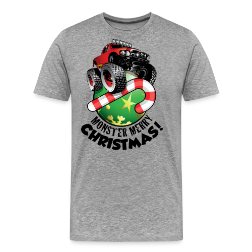 Men's Premium T-Shirt - Have a monster great christmas with this awesome monster truck design from Off-Road Styles. Complete with candy-cane and ornament.
