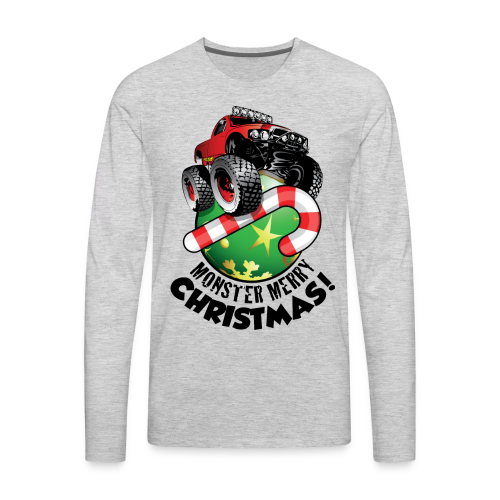 Men's Premium Long Sleeve T-Shirt - Have a monster great christmas with this awesome monster truck design from Off-Road Styles. Complete with candy-cane and ornament.