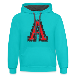 Letter A T-Shirt (Men) Black/Red - Contrast Hoodie