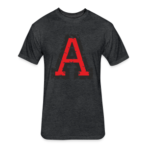 Letter A T-Shirt (Men) Black/Red - Fitted Cotton/Poly T-Shirt by Next Level