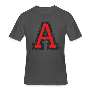 Letter A T-Shirt (Men) Black/Red - Men's 50/50 T-Shirt
