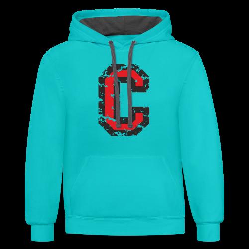 Letter C T-Shirt (Men) Black/Red - Contrast Hoodie