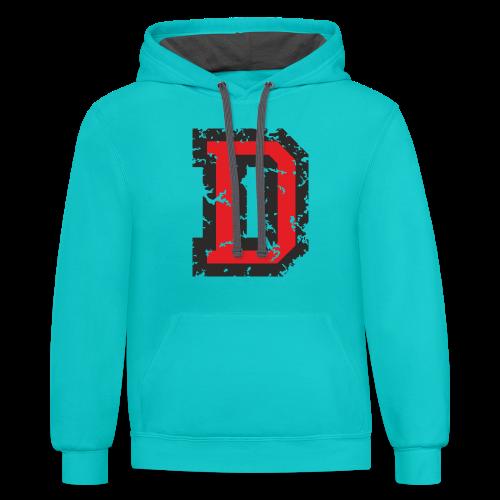 Letter D T-Shirt (Men) Black/Red - Contrast Hoodie