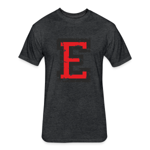 Letter E T-Shirt (Men) Black/Red - Fitted Cotton/Poly T-Shirt by Next Level