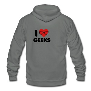 I Heart Geeks - Unisex Fleece Zip Hoodie by American Apparel
