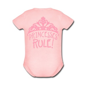 Princesses Rule - Short Sleeve Baby Bodysuit