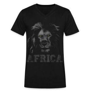 African Lion T-shirt - Men's V-Neck T-Shirt by Canvas