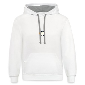 Cute Penguin Coffee - man on mug - Contrast Hoodie