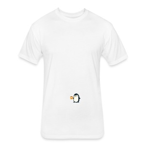 Cute Penguin Coffee - man on mug - Fitted Cotton/Poly T-Shirt by Next Level