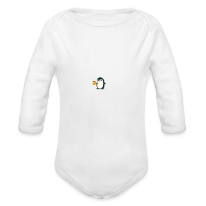 Cute Penguin Coffee - man on mug - Long Sleeve Baby Bodysuit