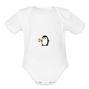 Cute Penguin Coffee - man on mug - Short Sleeve Baby Bodysuit
