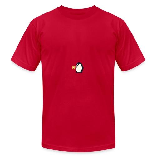 Cute Penguin Coffee - man on mug - Men's Fine Jersey T-Shirt