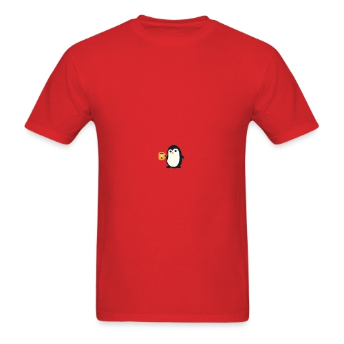 Cute Penguin Coffee - man on mug - Men's T-Shirt