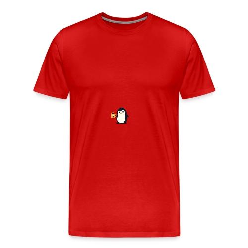 Cute Penguin Coffee - man on mug - Men's Premium T-Shirt