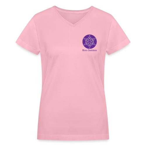 Boss Goddess Women's Round Logo Tee - Women's V-Neck T-Shirt