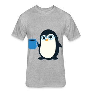 Cute Penguin Coffee - Blue Glasses - Fitted Cotton/Poly T-Shirt by Next Level