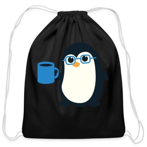 Cute Penguin Coffee - Blue Glasses - Cotton Drawstring Bag