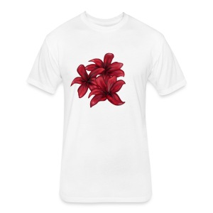 Red Flowers - Fitted Cotton/Poly T-Shirt by Next Level