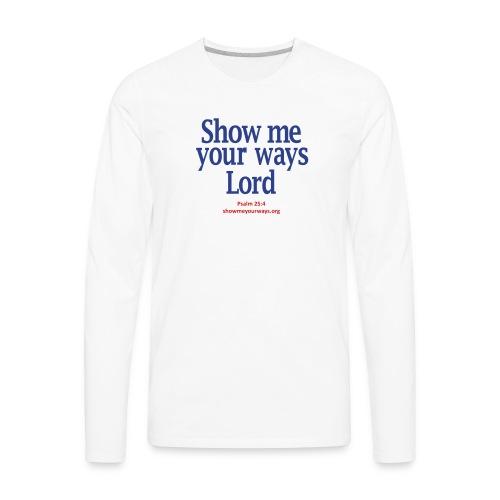 Men's T-Shirt by American Apparel - Navy on White - Men's Premium Long Sleeve T-Shirt