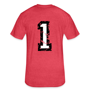 Number One T-Shirt No.1 (Men Red) Back - Fitted Cotton/Poly T-Shirt by Next Level