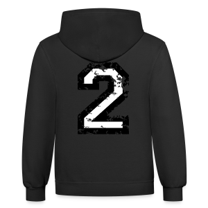 Number Two T-Shirt No.2 (Men Red) Back - Contrast Hoodie
