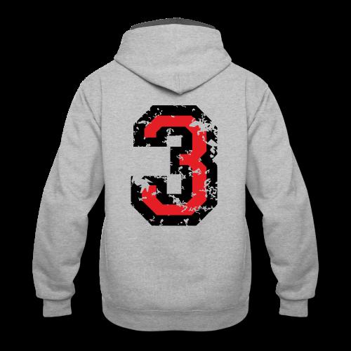 Number Three T-Shirt No.3 (Men Grey) Back - Contrast Hoodie
