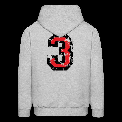 Number Three T-Shirt No.3 (Men Grey) Back - Men's Hoodie