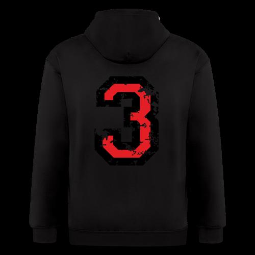 Number Three T-Shirt No.3 (Men Grey) Back - Men's Zip Hoodie