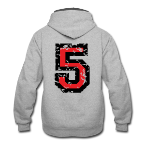 Number Five T-Shirt No.5 (Men Grey) Back - Contrast Hoodie