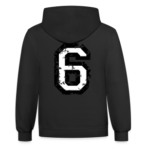Number Six T-Shirt No.6 (Men Red) Back - Contrast Hoodie