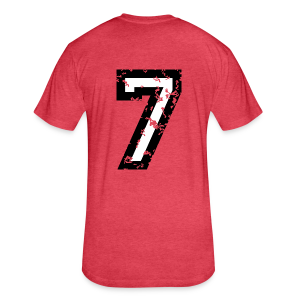 Number Seven T-Shirt No.7 (Men Red) Back - Fitted Cotton/Poly T-Shirt by Next Level