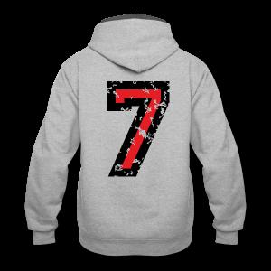 Number Seven T-Shirt No.7 (Men Grey) Back - Contrast Hoodie