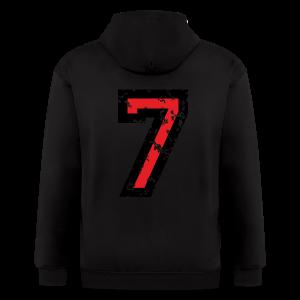 Number Seven T-Shirt No.7 (Men Grey) Back - Men's Zip Hoodie