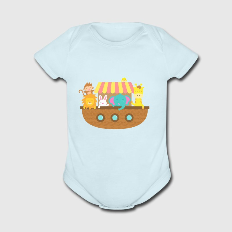 Noah Ark, Cute Animals, for Kids Baby & Toddler Shirts - Short Sleeve Baby Bodysuit