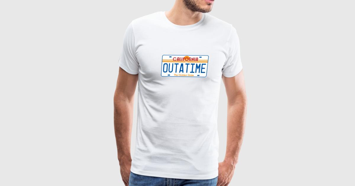 Outatime license plate t shirt spreadshirt for T shirt licensing agreement