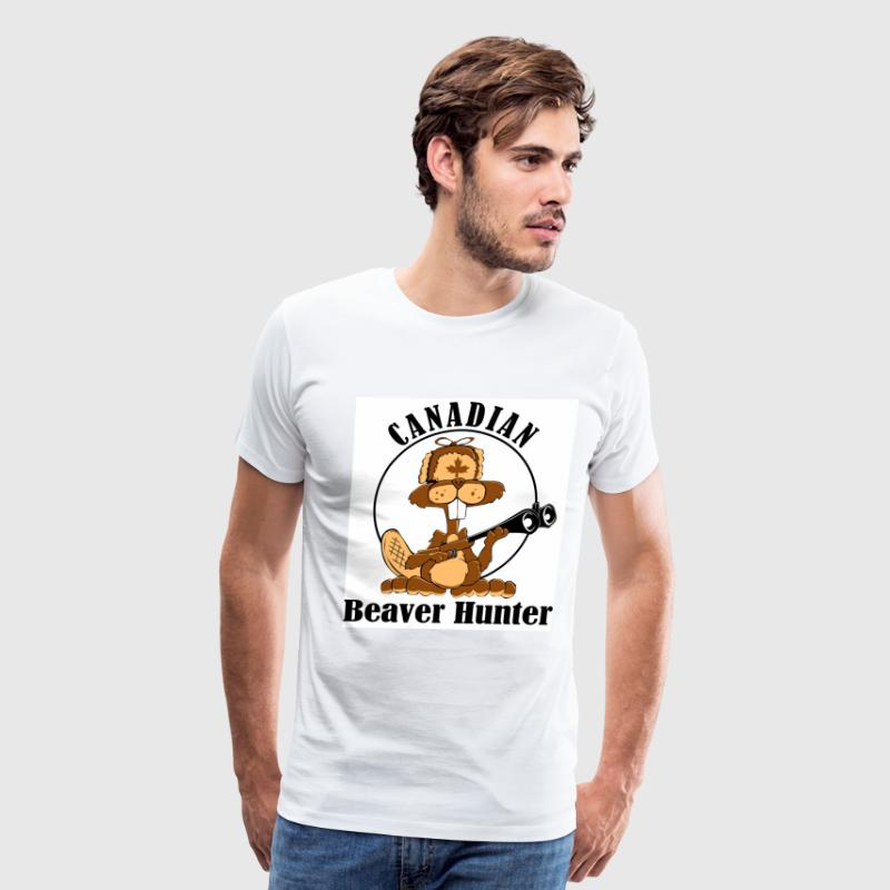 White Canadian Beaver Hunter Men - Men's Premium T-Shirt