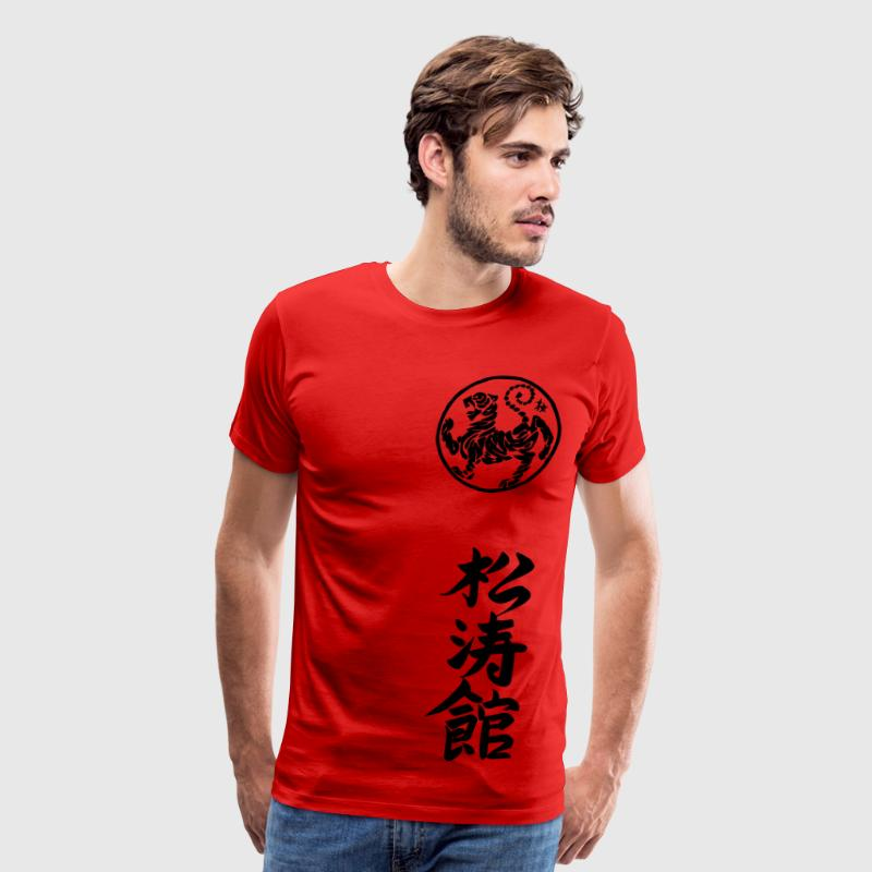 Red Shotokan Karate Kanji Calligraphy T-Shirts - Men's Premium T-Shirt