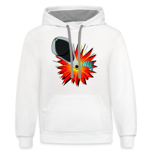 Gunshot, 3D comicbook, bullet hole, chest t-shirt - Contrast Hoodie