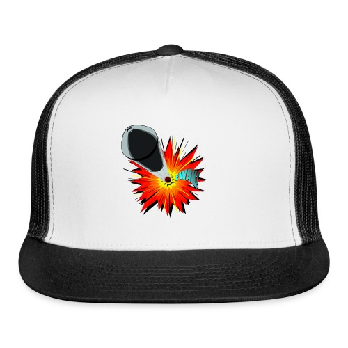 Gunshot, 3D comicbook, bullet hole, chest t-shirt - Trucker Cap