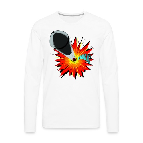 Gunshot, 3D comicbook, bullet hole, chest t-shirt - Men's Premium Long Sleeve T-Shirt