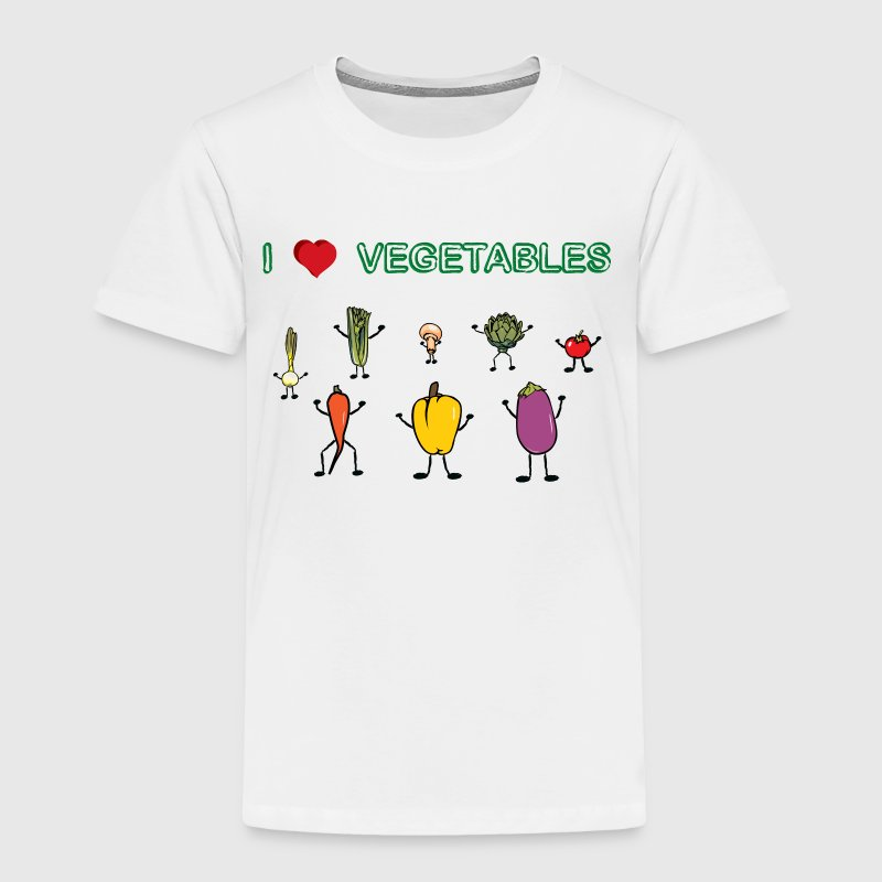 White I love vegetables Toddler Shirts - Toddler Premium T-Shirt