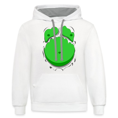 Comic Fat Belly Green, beer gut, beer belly, chest t-shirt - Contrast Hoodie
