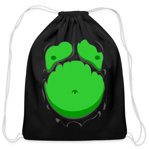 Comic Fat Belly Green, beer gut, beer belly, chest t-shirt - Cotton Drawstring Bag