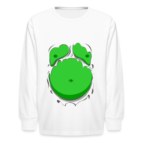 Comic Fat Belly Green, beer gut, beer belly, chest t-shirt - Kids' Long Sleeve T-Shirt