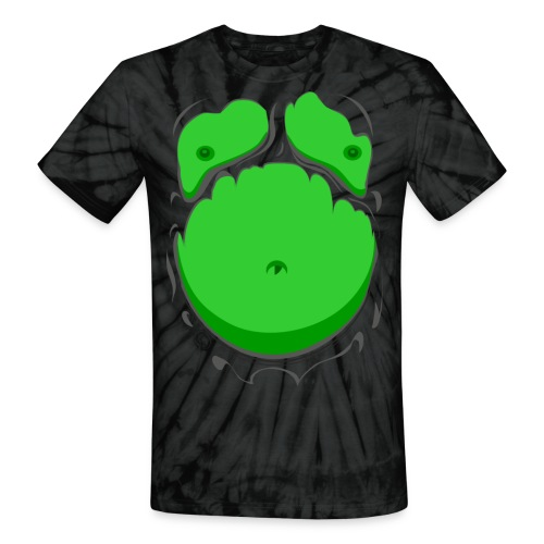 Comic Fat Belly Green, beer gut, beer belly, chest t-shirt - Unisex Tie Dye T-Shirt
