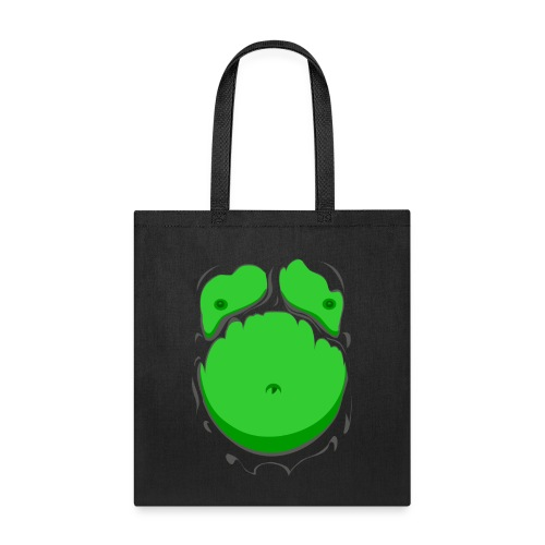 Comic Fat Belly Green, beer gut, beer belly, chest t-shirt - Tote Bag