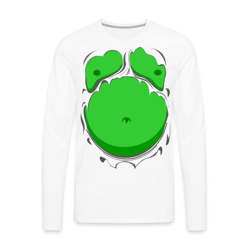 Comic Fat Belly Green, beer gut, beer belly, chest t-shirt - Men's Premium Long Sleeve T-Shirt