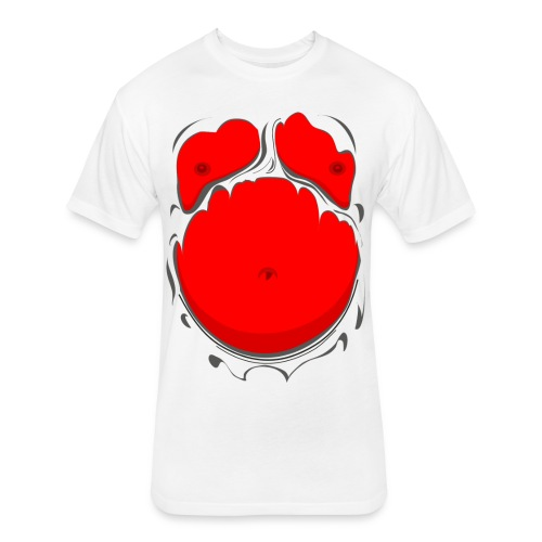 Comic Fat Belly Red, beer gut, beer belly, chest t-shirt - Fitted Cotton/Poly T-Shirt by Next Level