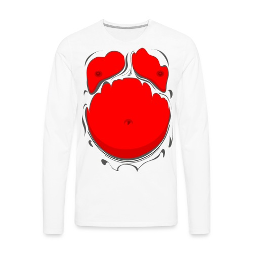 Comic Fat Belly Red, beer gut, beer belly, chest t-shirt - Men's Premium Long Sleeve T-Shirt